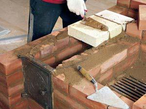 Печь камин с водяным контуром из кирпича